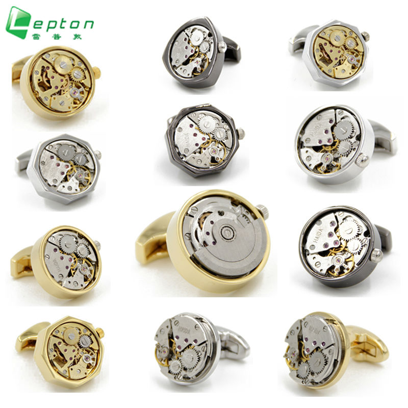 Lepton Functional Watch Movement Manchetknapper mode Watch designer manchetknapper til mænd Fransk skjorte manchetter Manchetknapper Tilbehør