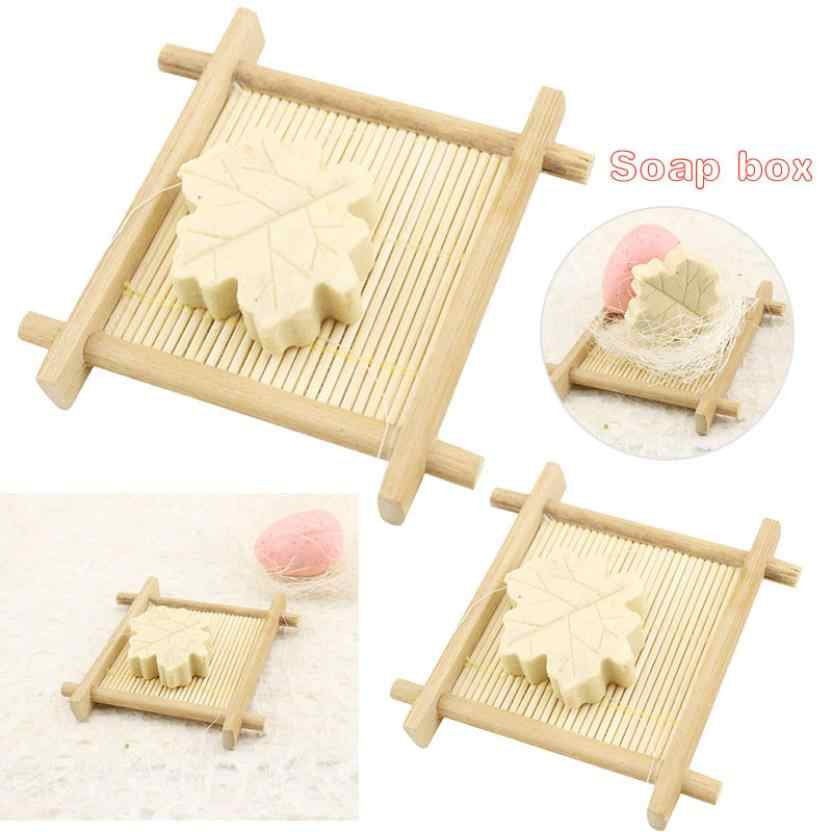 Natural Bamboo Wood Bathroom Shower Soap Tray Dish Storage Holder Plat T13