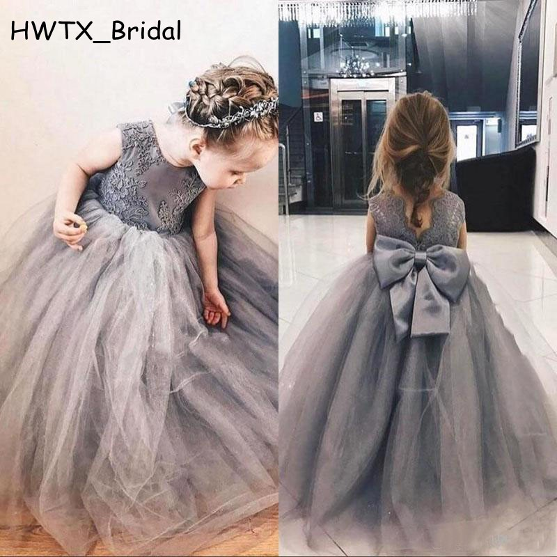 Vintage Lace Ball Gown Flower Girl Dresses For Weddings 2018 Grey ...