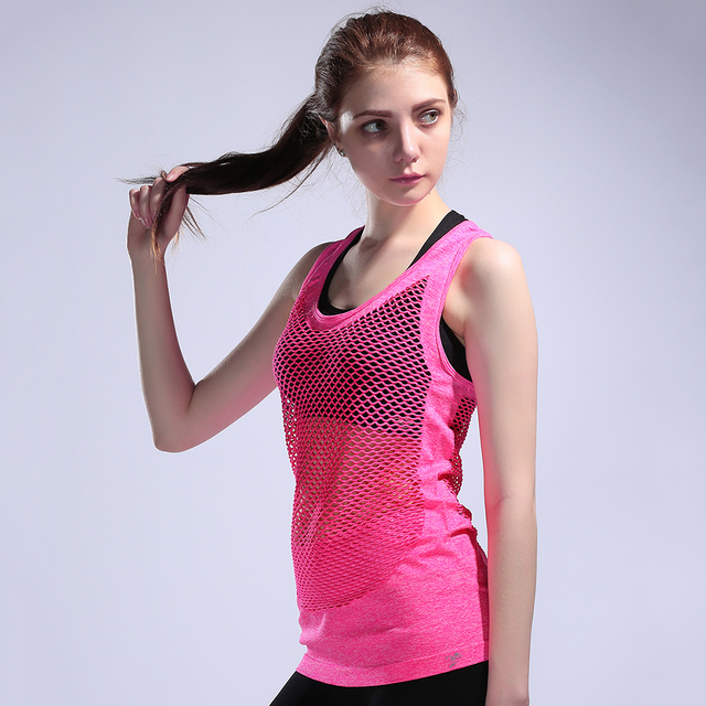 New Mesh Top Women s Sport Tank Tops Shirt Quick Dry Breathable Elastic  Sleeveless Clothes Running Jogging Fitness Sexy Vest 71da8778f3