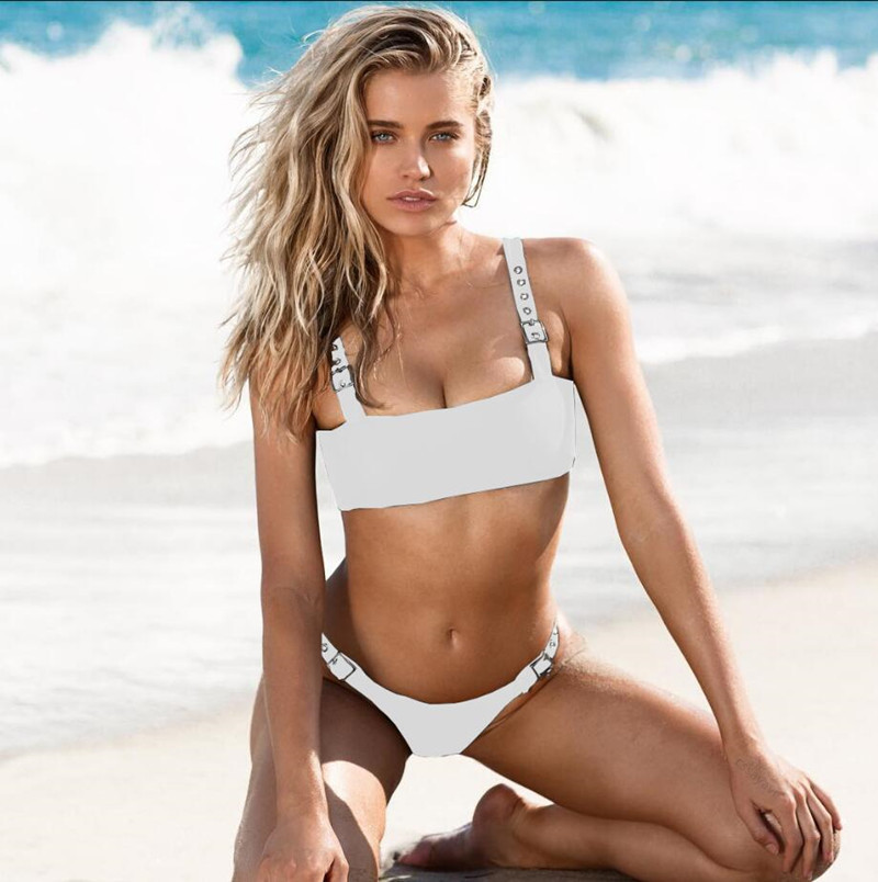 Bikini Sets Swimsuit Female 2019 Swimsuit 2 Piece Swimwear Women Push Up High Waist Solid Bikini in Bikinis Set from Sports Entertainment