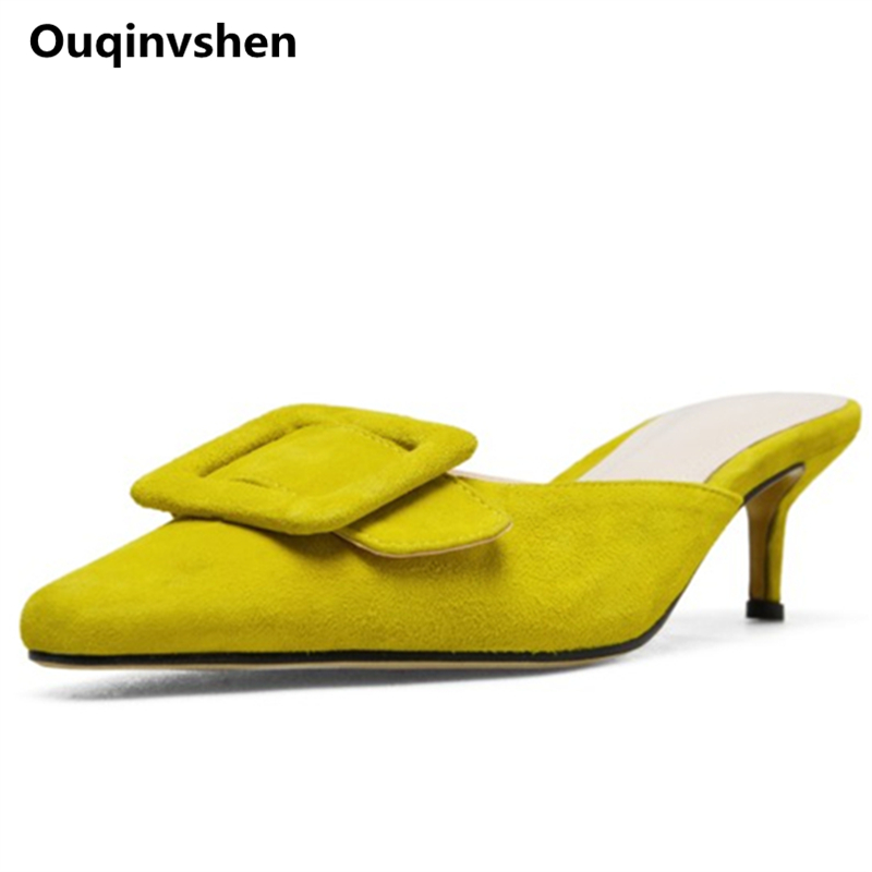 Ouqinvshen Buckle Strap Slippers Women Plus Size Yellow Kid Suede Thin Heels Concise Pumps Shoes Women Fashion Mules Shoes Women ouqinvshen spherical heel mules shoes round toe plus size 34 43 genuine leather yellow white ladies shoes fashion slippers women