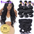 10A Fashion Plus Brazilian Virgin Hair with Closure Lace Frontal Closure with Bundles 3 Bundles with Closure Human Hair Bundles