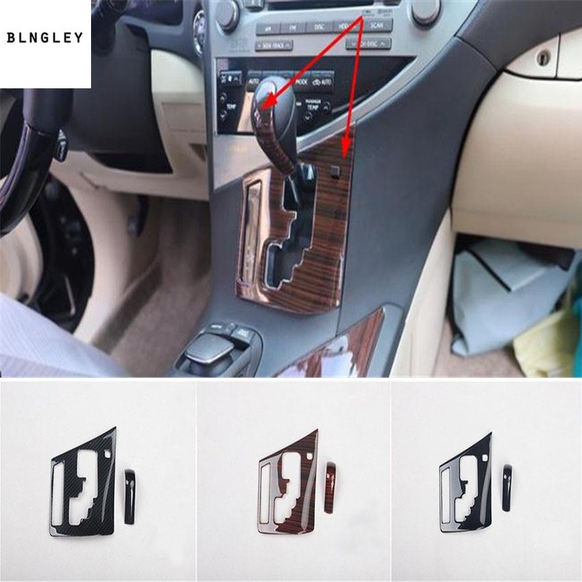 1 lot ABS fiber de carbone ou en bois grain décoration de panneau de vitesse couverture pour 2009-2014 LEXUS RX200 RX300 RX350