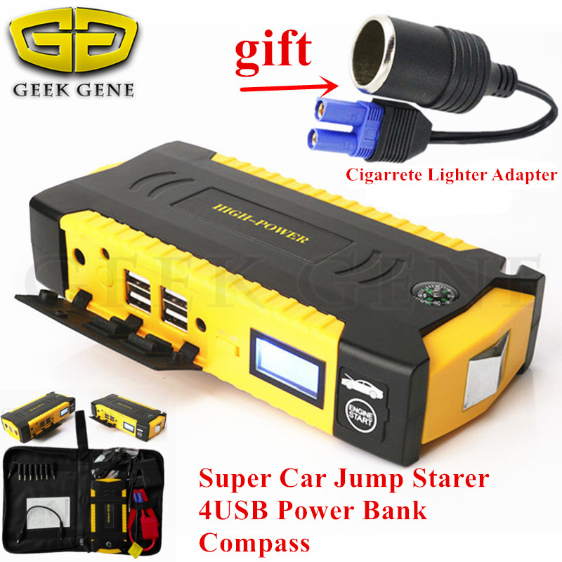 New Capacity Pertrol Diesel 12V Car Battery Starter 600A Peak Jump Starter Mini 4USB Power Bank Mini Compass SOS Light Free Ship