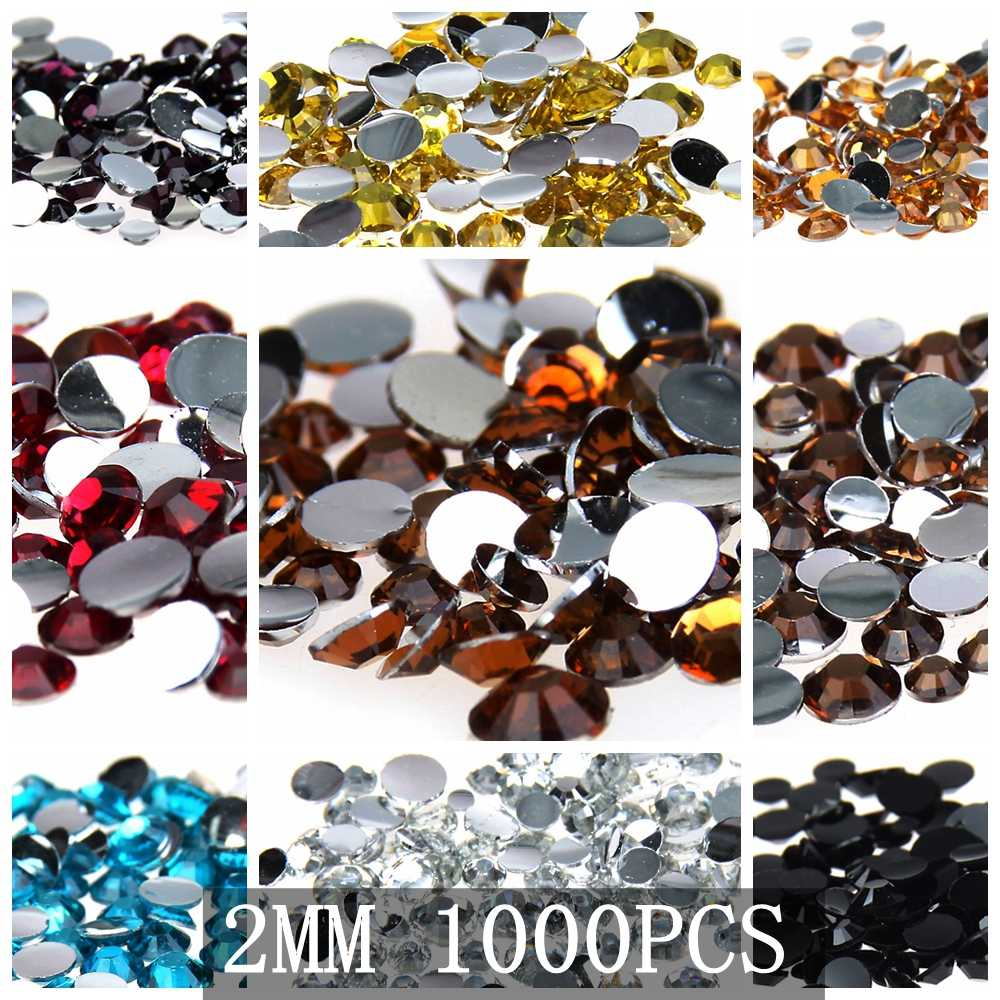 Nail Stones 2mm 1000pcs Non-Hotfix Resin Rhinestones For Nail Art Flatback Round DIY Jewelry Making Supplies Wholesale