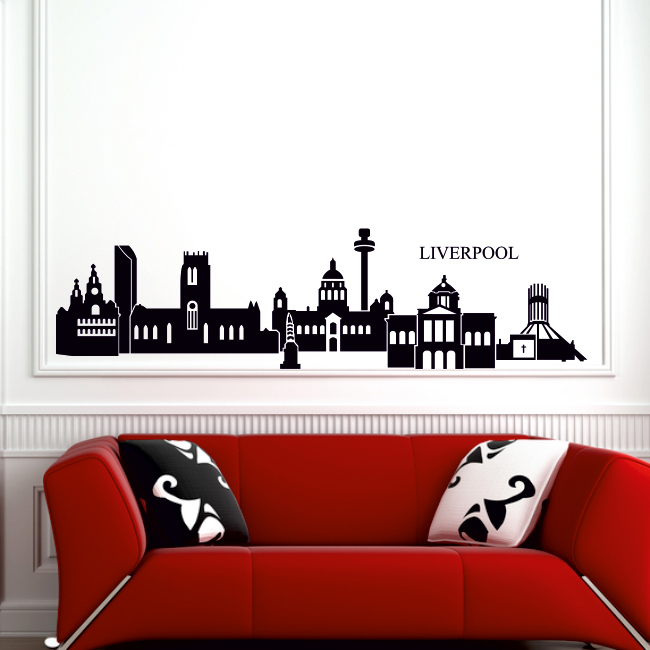 skyline vinyl wall decal city outline liverpool sihouette mural wall