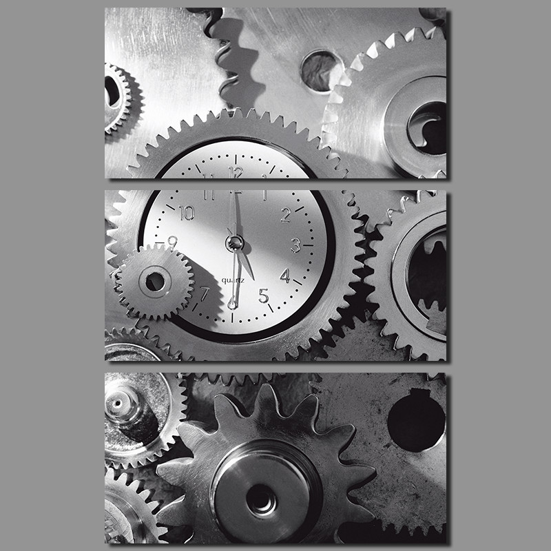 3pcsset modern black and white gear decoration clock wall art pictures canvas painting for living room home decor unframed