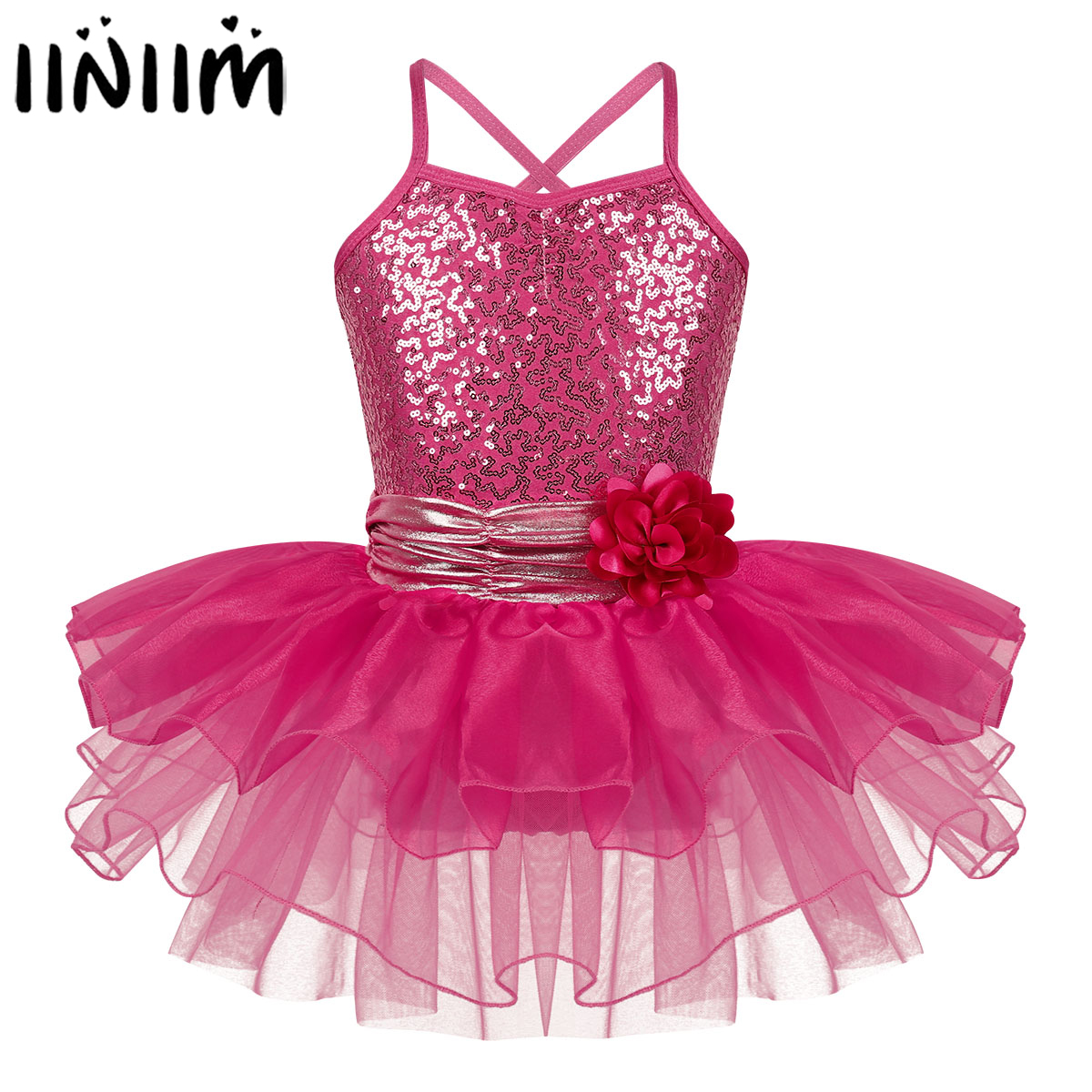 Iiniim Kids Girls Flower Strap Athletic Lyrical Dance Costumes Parties Dancewear Ballerina Ballet Gymnastics Leotard Tutu Dress