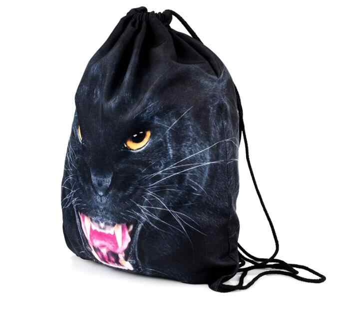 ... 1 piece leopard Cat tiger 3D Printing Backpack Bag Rucksack mochila  feminina Drawstring bag schoolbag ...