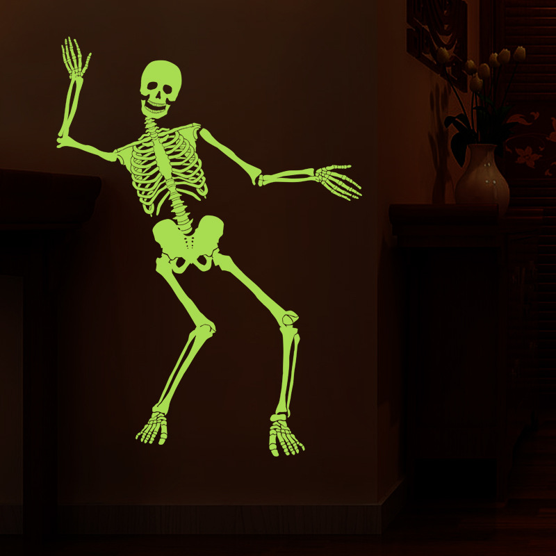 DIY luminous skeleton wall stickers Halloween haunted house bar corners tricky backgroun ...