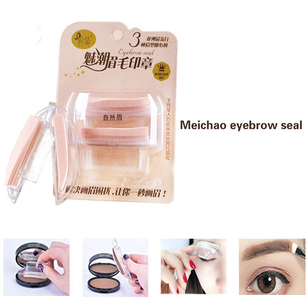 Fashion Eyebrow Template Stamp Svamp Stencils Eye Makeup 3 Natural - Smink - Foto 5