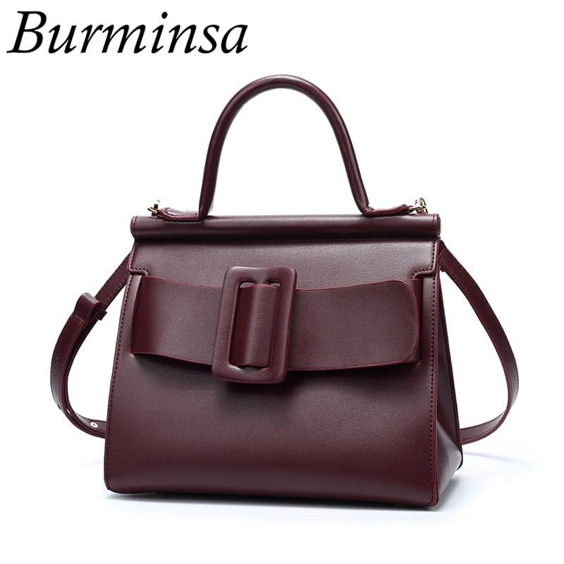 цены Burminsa Belt Buckle Women Causal Tote PU Leather Designer Handbags Female High Quality Luxury Shoulder Messenger Bags 2018 NEW