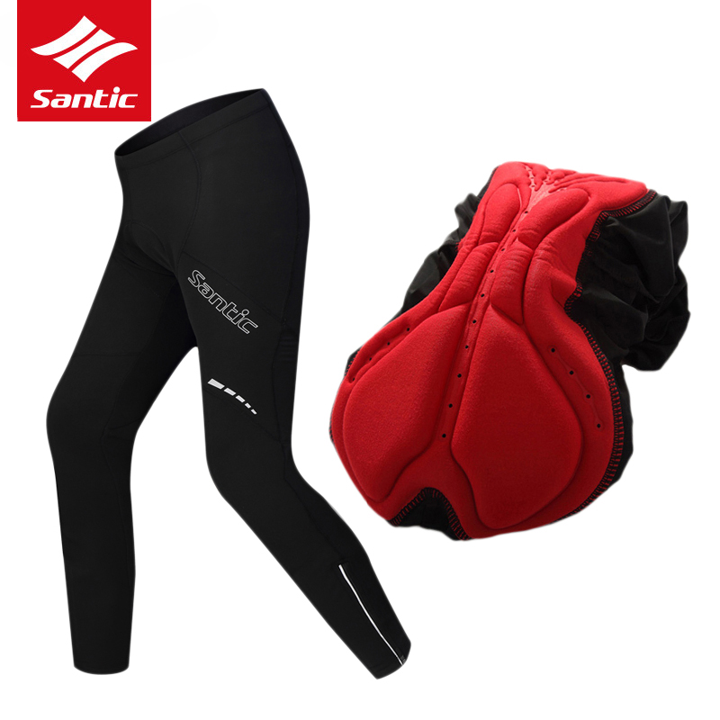 Santic Winter Cycling Pants Thermal Fleece Warm Mountain Road Bike Pants 4D Padded Bicycle Long Pants Cycling Clothing Ciclismo santic men winter cycling pants thermal fleece windproof mtb road bike pants 4d padded bicycle long pants cycling clothes