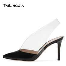 цена Fashion Women Black Heels Womens Party Shoes Woman High Heel Pointed Toe Ladies Slingback Pumps PVC Female Big Size Court Shoes онлайн в 2017 году