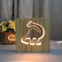 warm white Color Dinosaur Lamp 3D Visual Led wooden Night Lights USB Table Lampara as child gift for room decor