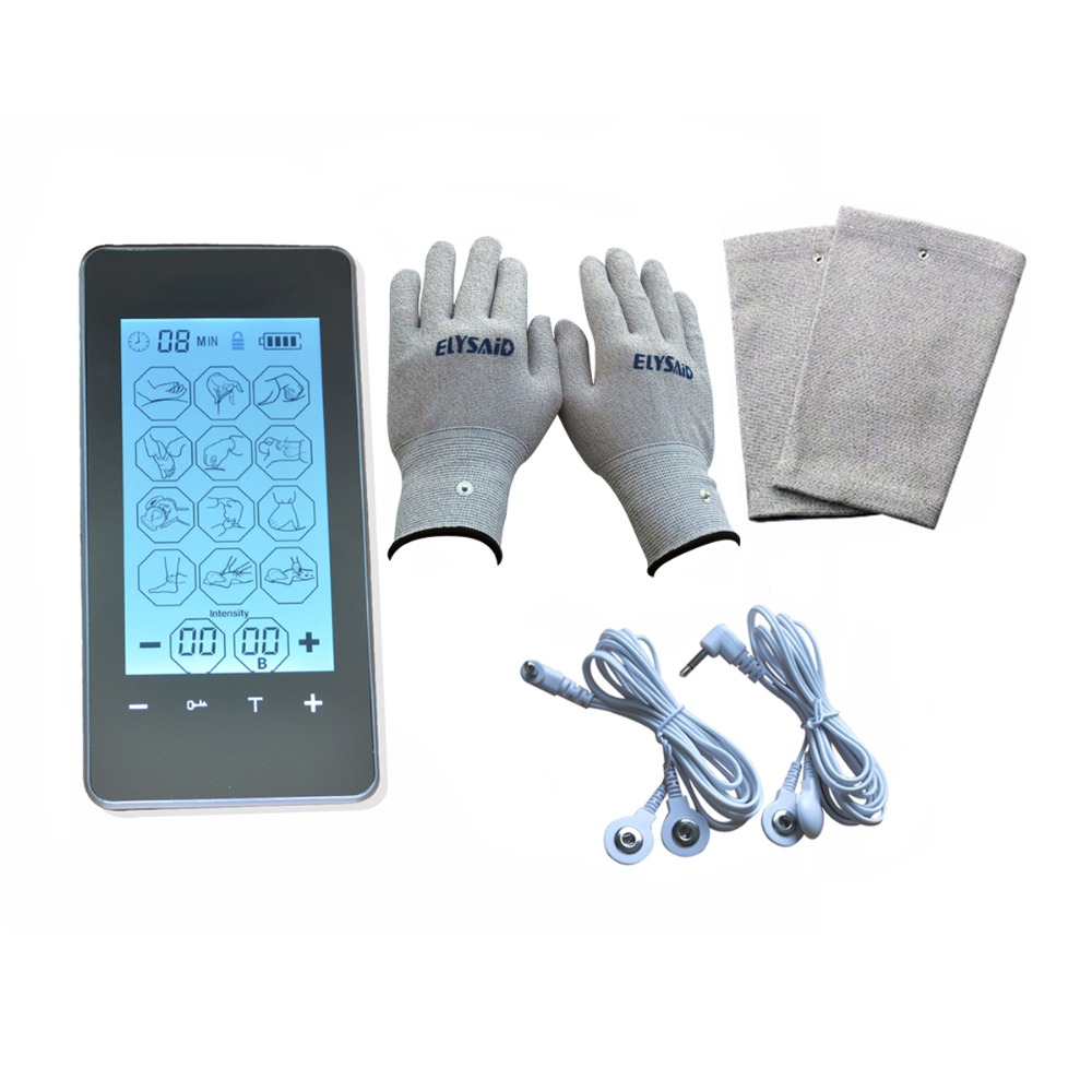 12 Modes Touch Screen Healthcare Physiotherapy Burn Fat Muscle Ache Soothing Massager+Electro-Physiotherapy Gloves And Knee Pads tens led screen magic electrictronic pulse healthcare massager blood circumstance 1pair physiotherapy gloves 4pcs conducting gel