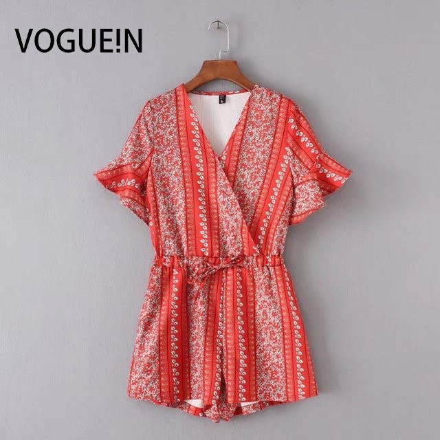 VOGUE!N New Womens Ladies Vintage Short Flare Sleeve Floral Red Print V Neck Playsuits Jumpersuit