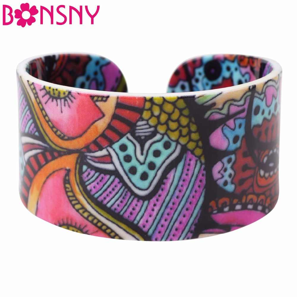 Bonsny Acrylic Ethnic Personalized Pattern Wide Retro Bracelets Bangles Fashion Jewelry For Women 2017 New Spring Summer Bijoux