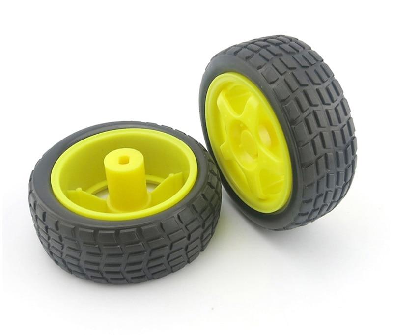 2PCS/4PCS RC Car Flat Rubber Wheels 65mm Diameter Black Wheel Tyre Mini Robot Tires for DIY Electric Models Upgrade Parts