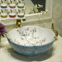 Multicolor flower shape counterop art wash ceramic basin sinks with flower bird design