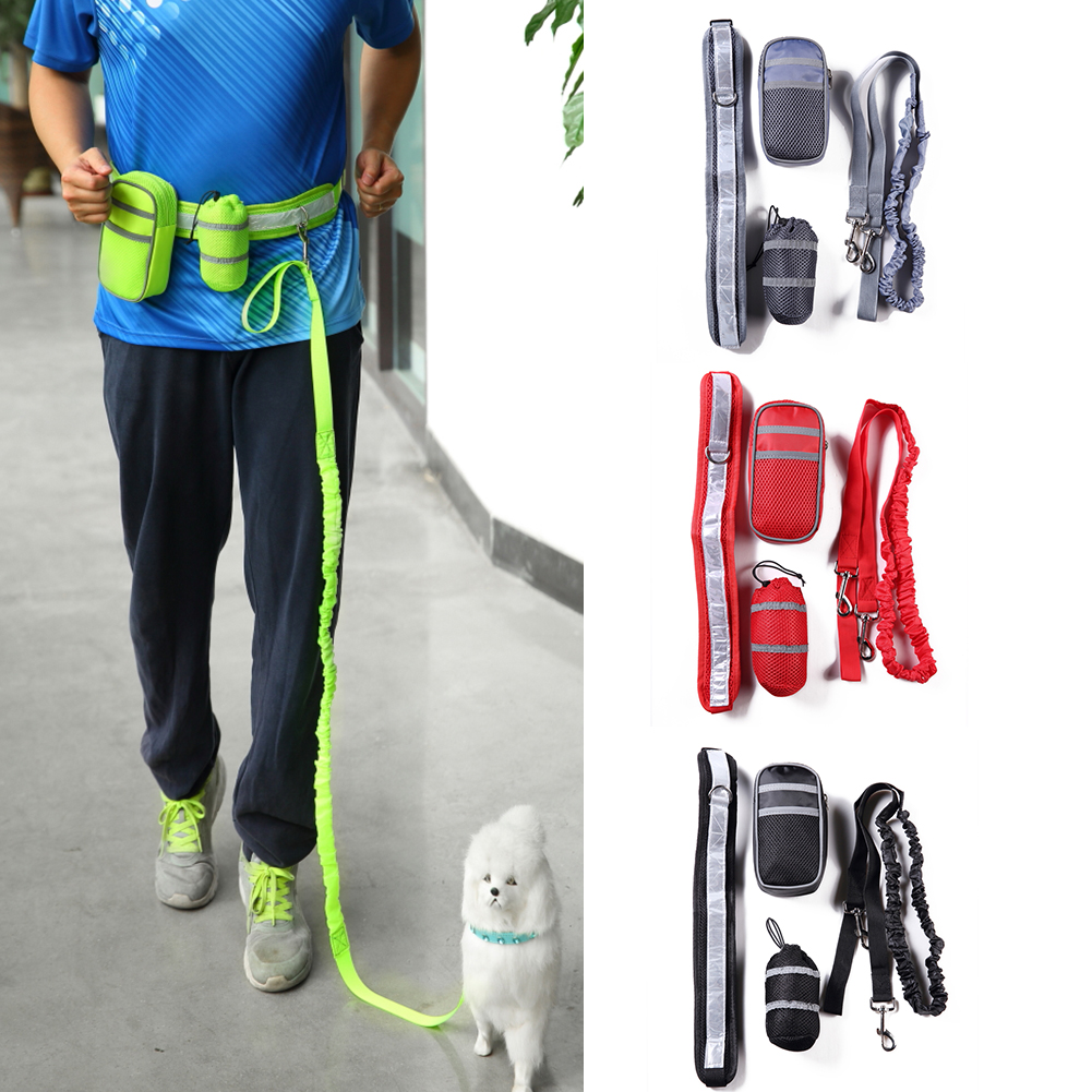 TINGHAO Elastic Pet Dog Leash Waist Belt Reflective Strap + Zipper Bag + Bottle Holder
