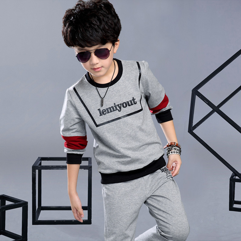 Children 39 s clothing Spring Autumn 2019 new children 39 s long sleeved sports suit cotton letters shirt pants boys clothing set in Clothing Sets from Mother amp Kids
