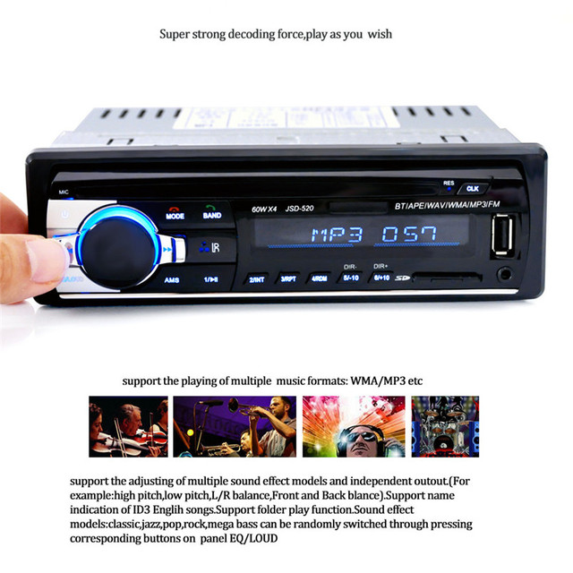 US $22 74 29% OFF|JSD 520 Bluetooth Car In Dash Stereo FM AUX Receiver  Audio 1 DIN USB MP3 Radio Drop Shipping August 14 trong JSD-520 Bluetooth  Car