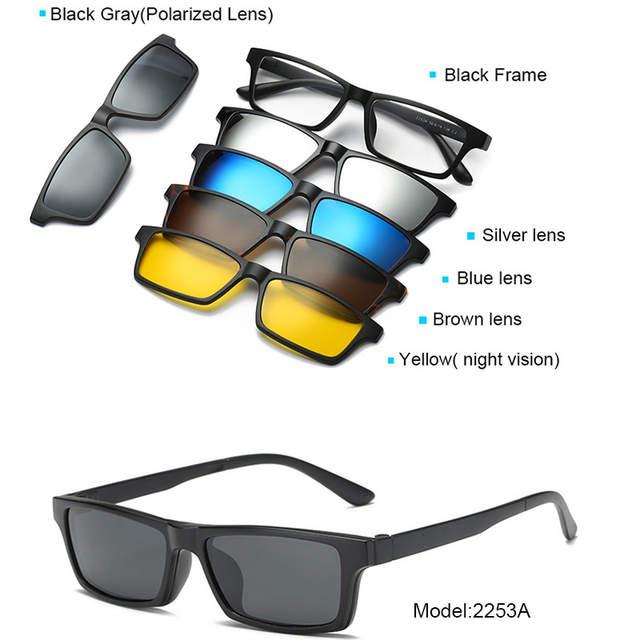 d978f875d5 5+1 suit Fashion Clip On Sunglasses Women Frames Clips Magnetic Sunglasses  Magnet eyeglasses men