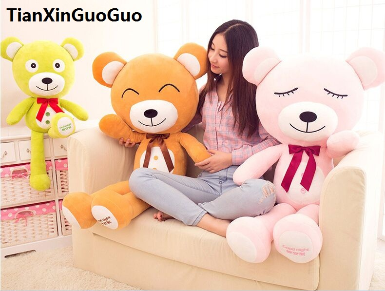 Фотография fillings toy bowtie teddy bear plush toy good night bear soft doll  large 120cm hugging pillow birthday gift w2533