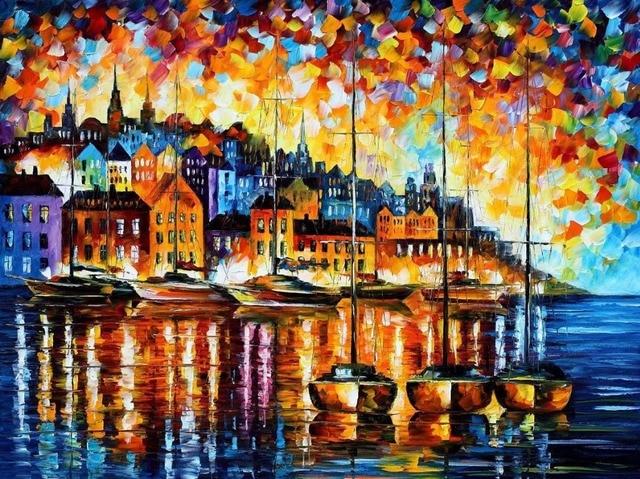 Paysage Peinture pour vente Coloré peintures à l\'huile Toile port de ...