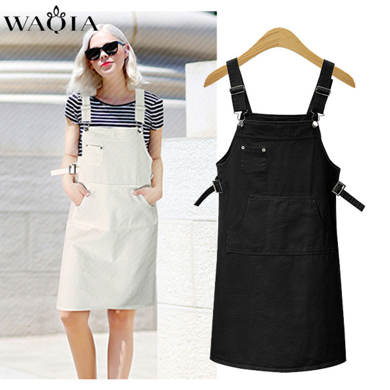 WAQIA Black Dress Plus Size XL-5XL Women Clothing 2018 Sexy Denim Dresses Women Loose Spaghetti Strap Jeans Long Dresses Womens