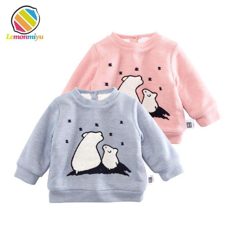 Lemonmiyu Baby Plus Velvet Cartoon Sweatshirts Cotton Cute Bear Thicken Infant O-Neck Hoodies 0-24M Button Newborn Fashion Tops