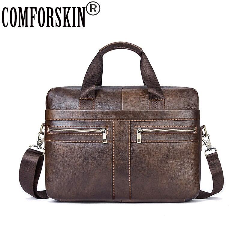 COMFORSKIN Premium 100% Genuine Leather Vintage Envelope Design Men Messenger Bags 2018 New Arrivals European American Men Bag pamaskin 2018 new arrivals casual retro men messenger bags 100
