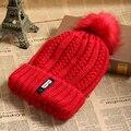 1 PC Mulheres Lady Crochet Tampão Feito Malha de Lã Inverno Quente Chapéu Do Crânio Ski Beanie Pompom Grande Bobble Bola