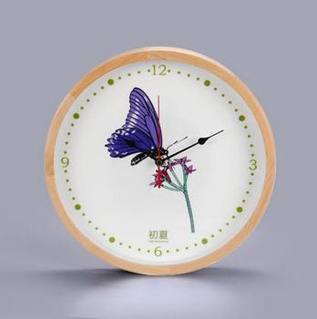 Creative Wall Clock Bird Goldfish Flower Butterfly Round Wooden Clock Living Room Bedroom Wall World
