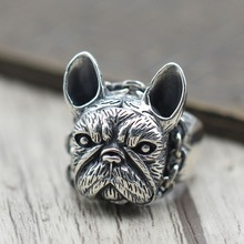 S925 silver jewelry Retro Vintage dog ring personality Bulldog men silver ring opening domineering