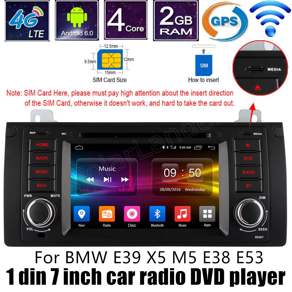 Quad Core Android 6.0 Car DVD Stereo Audio WIFI <font><b>Radio</b></font> GPS video For <font><b>BMW</b></font> E39 X5 M5 <font><b>E38</b></font> E53 steering wheel control image