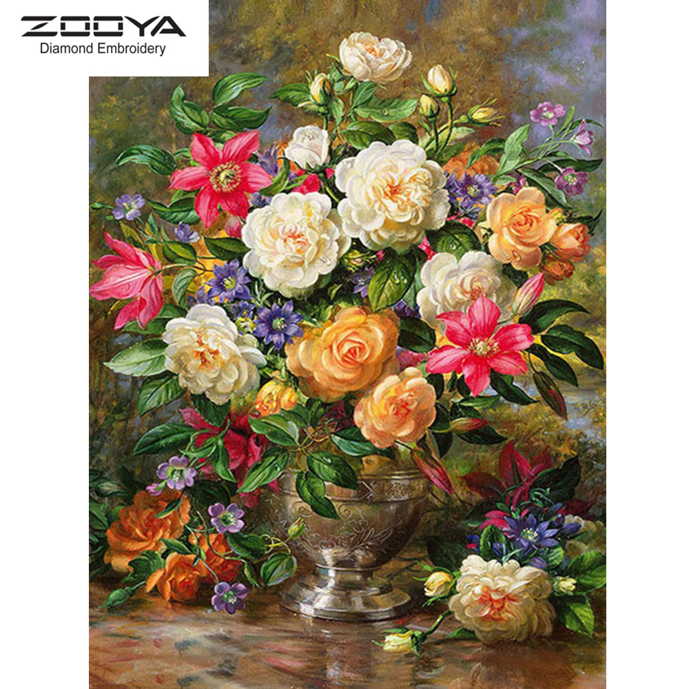 ZOOYA DIY 5D алмазная картина ваза полная квадратная Алмазная мозаика безрамные цветы алмазная Вышивка Цветы распродажа R047