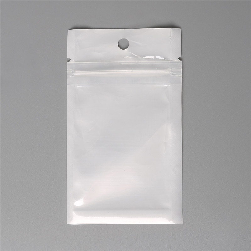 100pcs 6x10cm White Transparent Zipper Bag Jewelry Accessories Plastic Jewelry Packaging Retail Small Bag