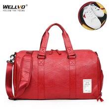 Wellvo, Мужская Дорожная сумка из искусственной кожи, сумка для переноски багажа, большая сумка-тоут с ремнем, сумка через плечо на выходные, одноцветная сумка на ночь XA212WC