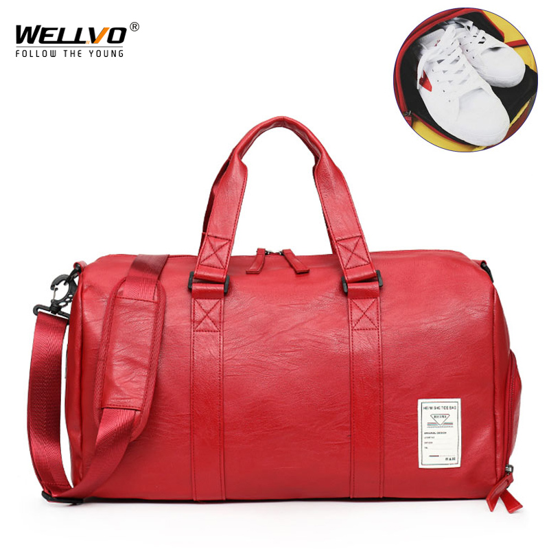 Wellvo Men PU Leather Travel Bag Carry on Luggage Duffel Bags Large Tote belt Weekend Crossbody Bag Overnight Solid XA212WC