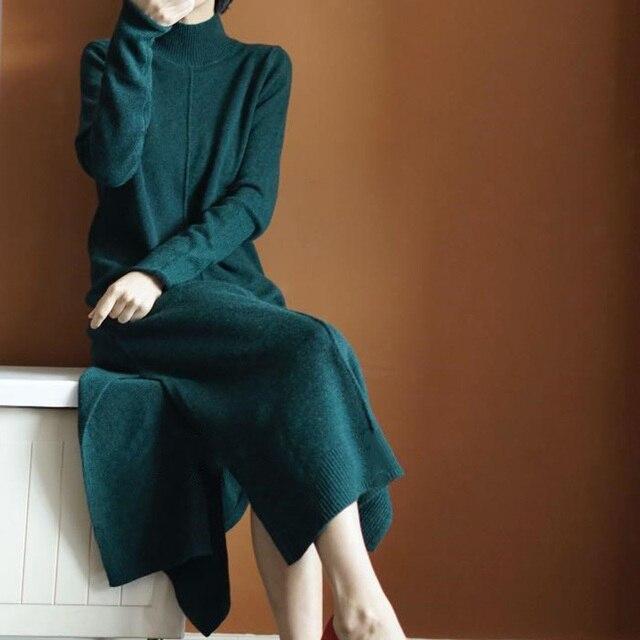 סתיו/חורף אלגנטי נשים משרד שמלת אופנה o-צוואר ארוך סוודר נשים סרוג slim קשמיר צמר ארוך שרוול סוודרים