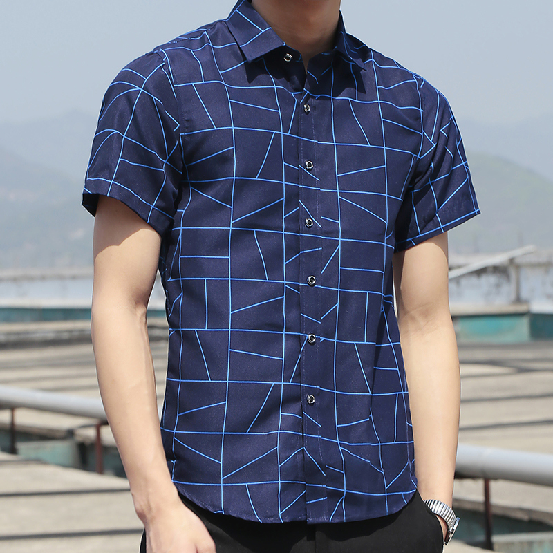 Mazefeng Casual Shirts Mens Clothing Geometric Plus-Size Summer Short-Sleeve Fashion