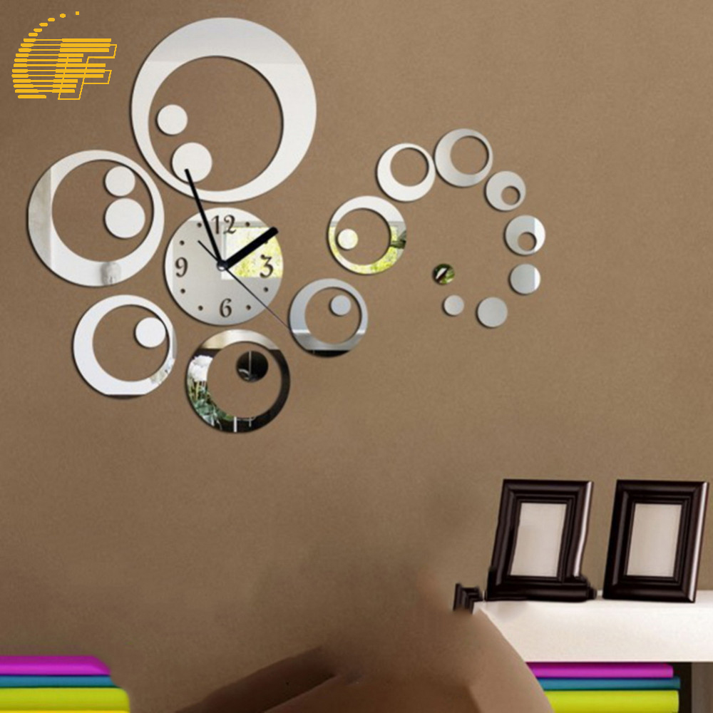 Fashion Circle Design Wall Sticker Art 3D Mirror Surface Reflection DIY Wall Clock Office Home Bedroom Decoration Craft Gift -48