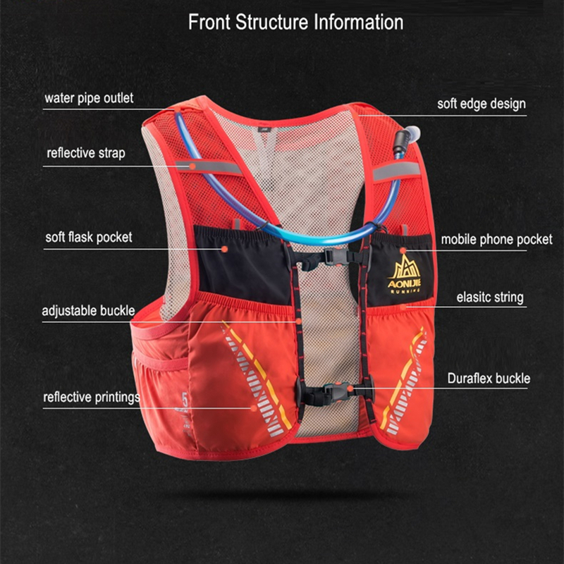 AONIJIE C933 5L deporte al aire libre mochila maratón Trail Running hidratación chaleco paquete para 2L bolsa de agua ciclismo bolsa de senderismo - 4