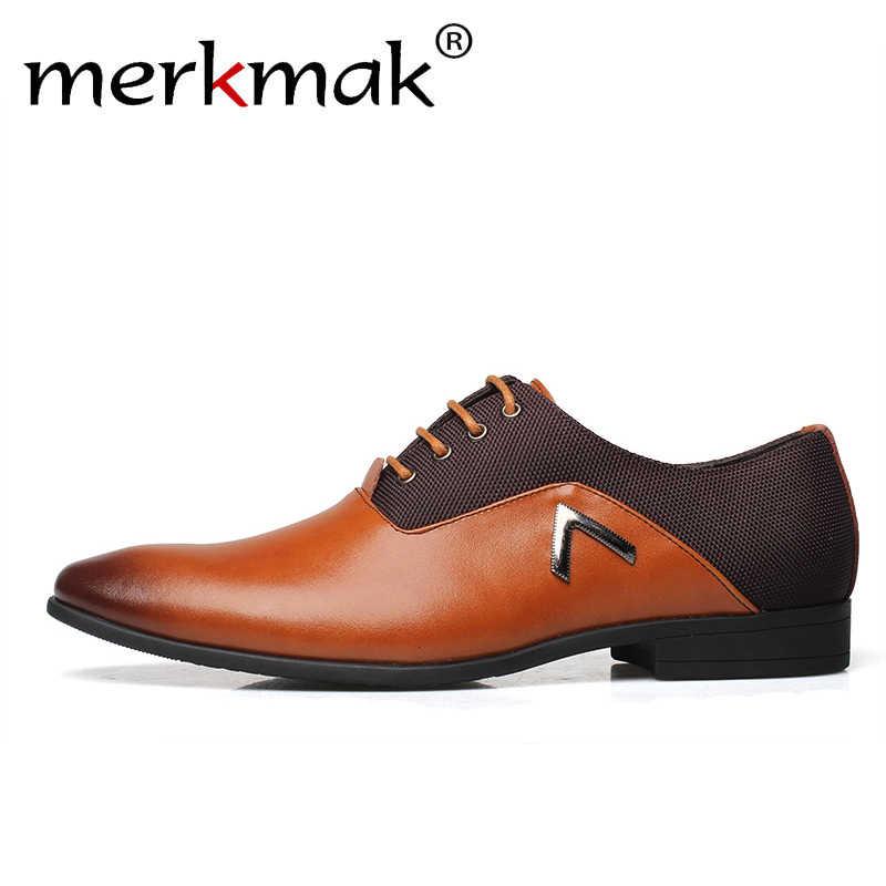 875b882c7 Merkmak/модные кожаные брендовые Для мужчин итальянские классические туфли  Мужская деловая обувь деловые туфли-