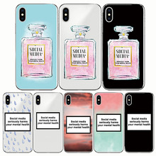 цена на Soft TPU Back Cover Coque Social Media Seriously Harms Your Mental Phone Case  For Apple Iphone 6 6S 7 8 plus XR X 5 5S SE