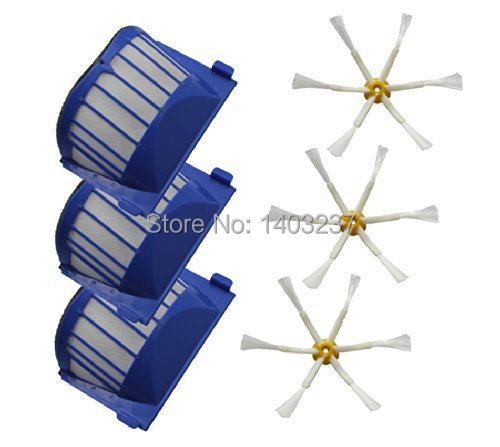 3 x Aero Vac Filter 3 x Side Brush 6-Armed for iRobot Roomba 500 600 Series 536 550 551 552 564 620 630 650 660 Vacuum Cleaner aero vac filter bristle brush flexible beater brush 3 armed side brush tool for irobot roomba 600 series 620 630 650 660