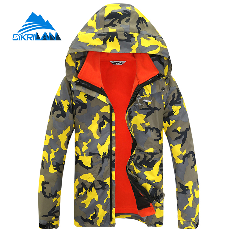 Camo Warm Snowboard Climbing 2in1 Winter Outdoor Jacket Men Jaqueta Masculina Waterproof Windstopper Hiking Camping Skiing Coat